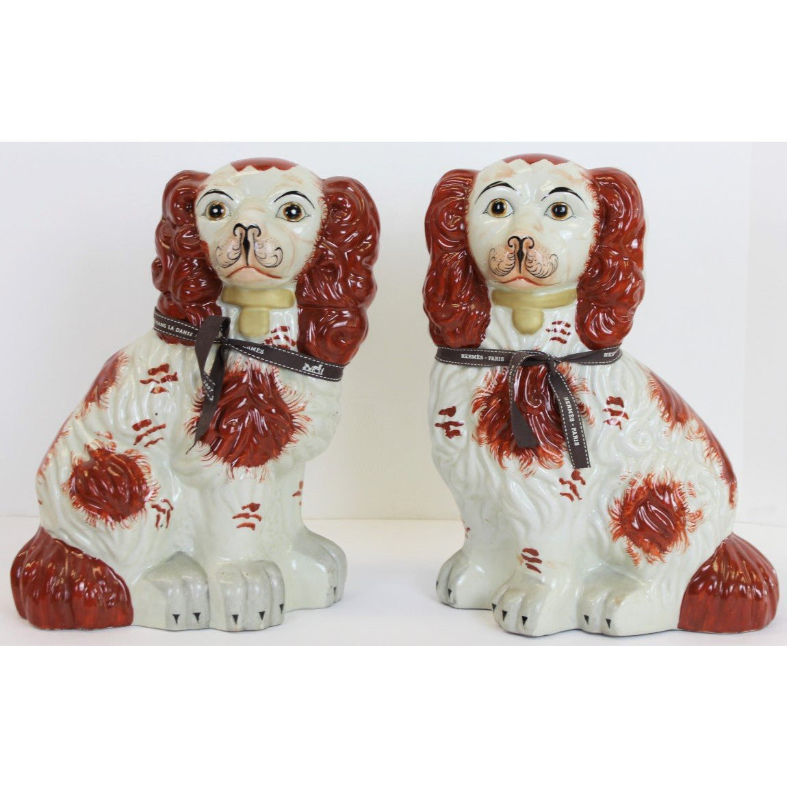 Pair of Porcelain Staffordshire Spotted Spaniels