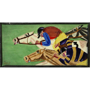 Art Deco Jockeys on Racehorses Plaque