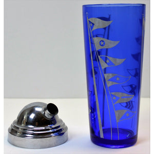 Cobalt Blue Glass Cocktail Shaker w/ Burgee Flags