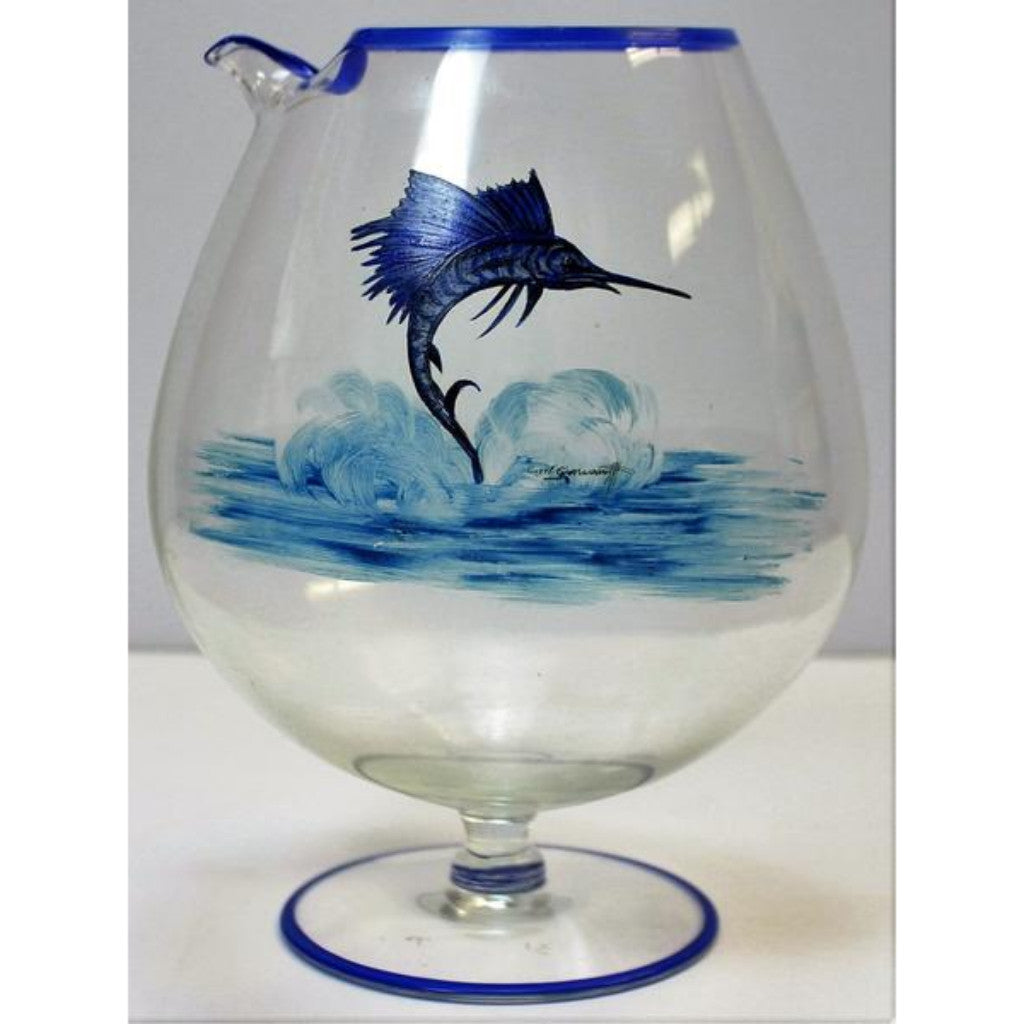 Abercrombie & Fitch Sailfish Ballon Martini Mixer Hand-Painted by Cyril Gorainoff