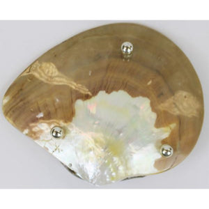'Mother of Pearl Caviar Plate w/ Sterling Silver Sturgeon'