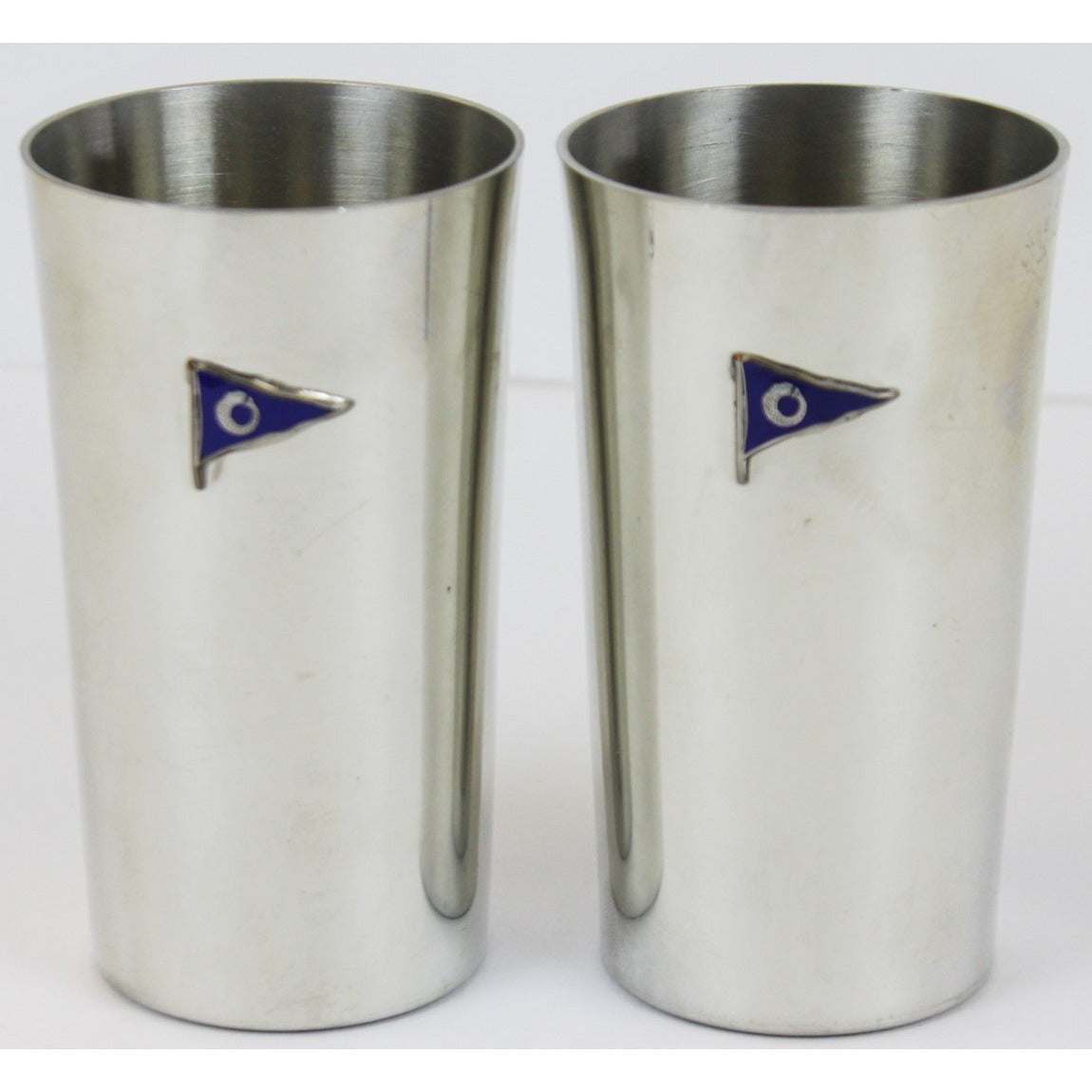 Pair of Pewter Yachting Highball Glasses