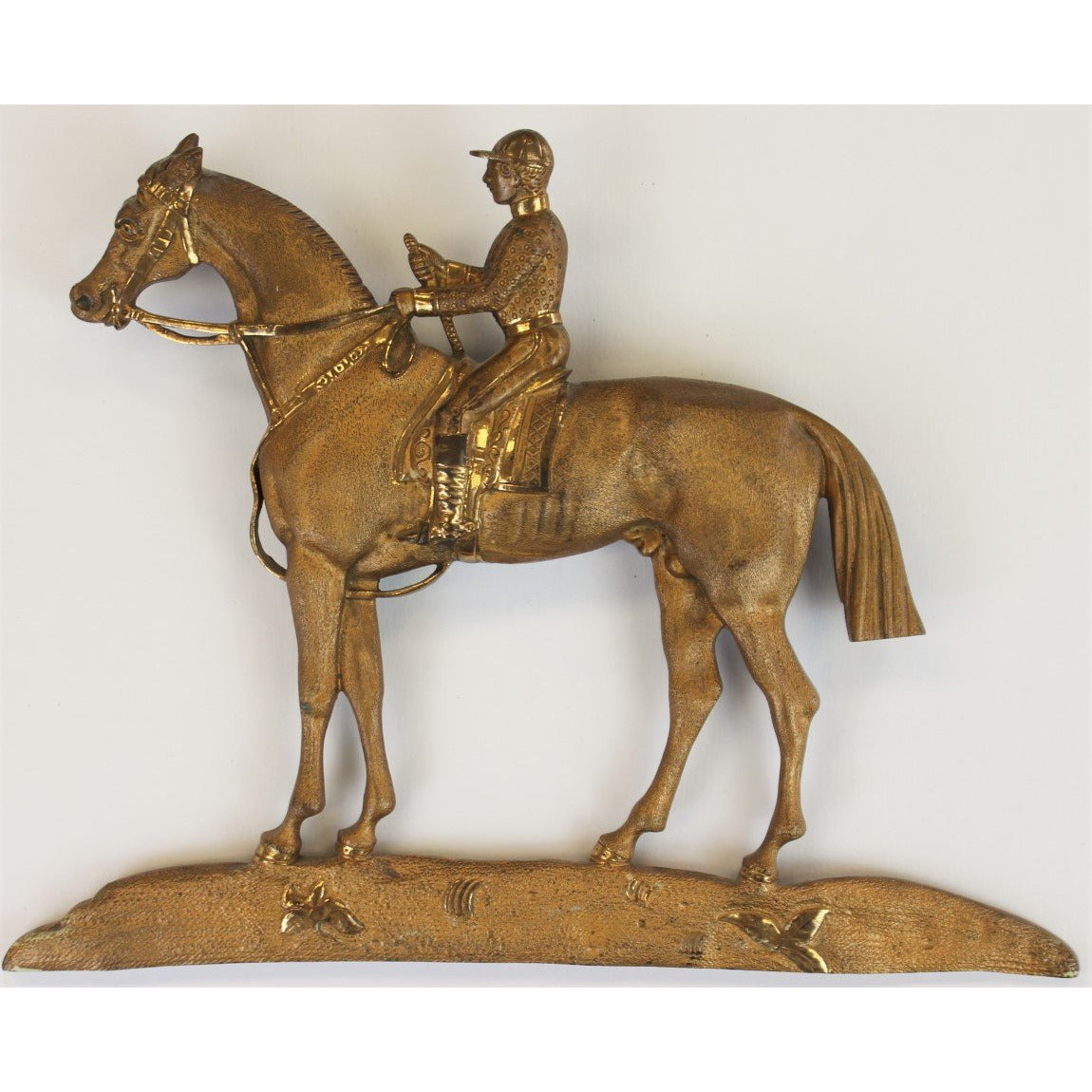 Brass Jockey & Racehorse Gilt 1930's Plaque