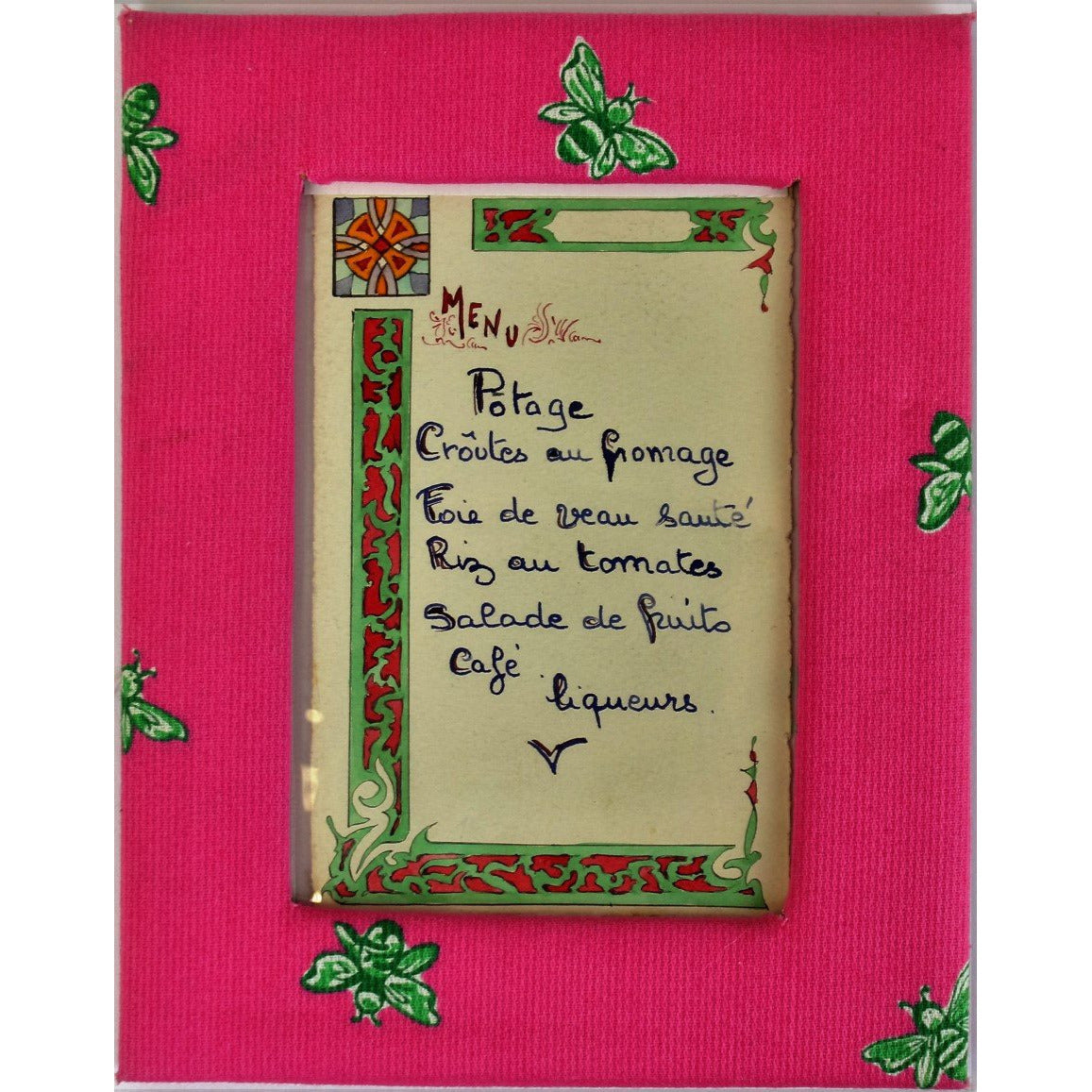Paris Restaurant Menu w/ Lilly Pulitzer Pink & Lime Frame