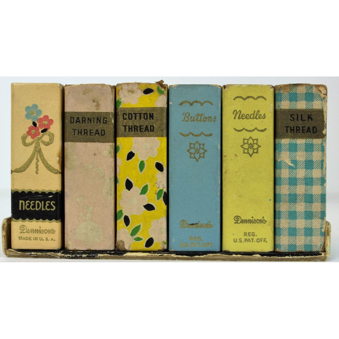 Boxed Set of 6 Miniature Faux Books w/ Sewing Materials
