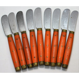 Set of 9 Paris Bistro Hermes Orange Butter Knives
