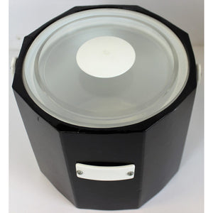 Georges Briard Octagonal Black Ice Bucket w/ White Lucite Handle