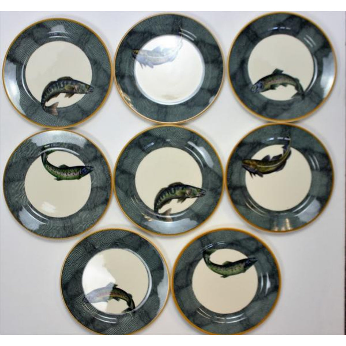 "'Set of 7 Williams Sonoma English Angler ""Trout"" Plates'"