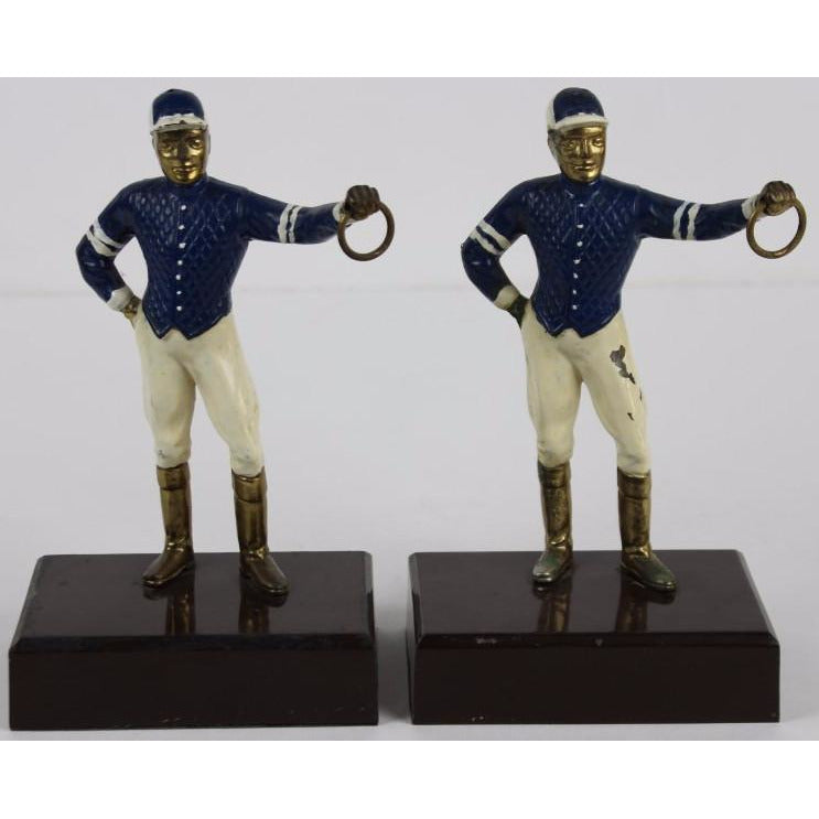 Pair of Navy & White 'Silks' Jockey Bookends
