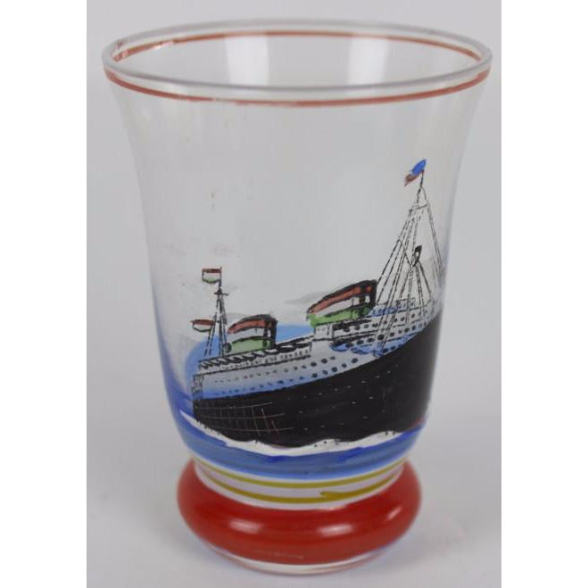 Vintage Shot Glass w/ Hand-Painted Steam Ship
