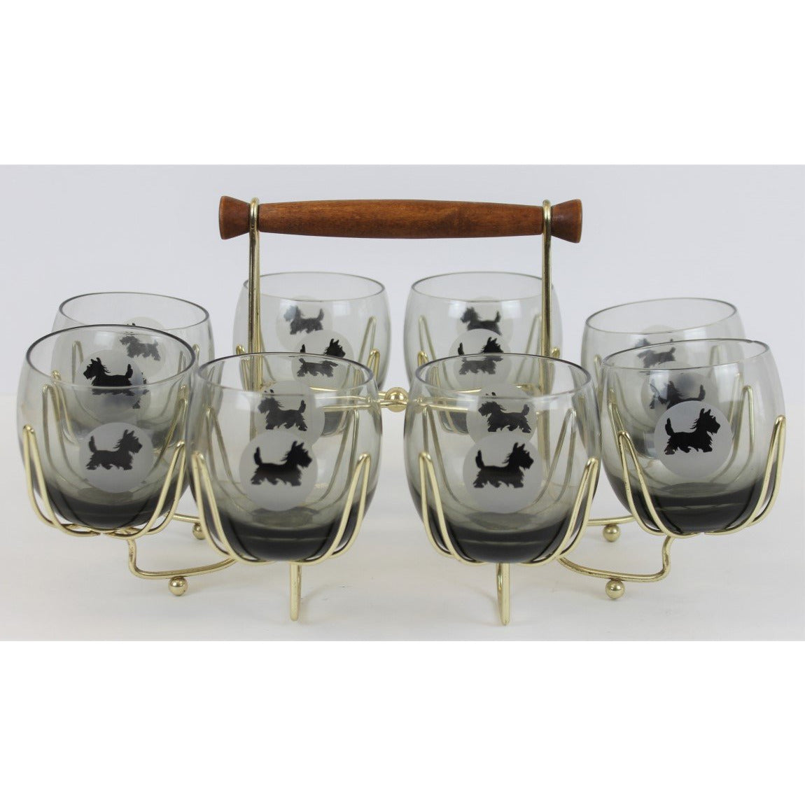 Set of 8 Old-Fashioned Glasses with Scottie Dogs and Brass Carrier