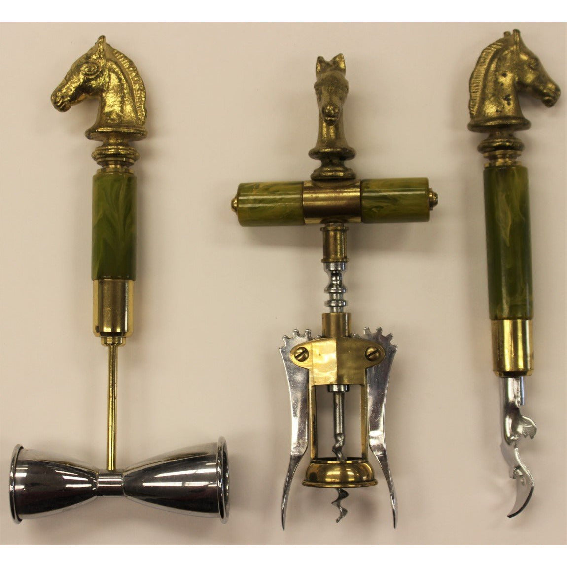 Brass Horse Head Jigger Cups, Bottle Opener and Cork Screw w/ Marble Stem