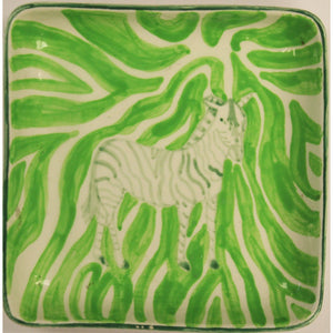 Lime Green Zebra Print Ashtray