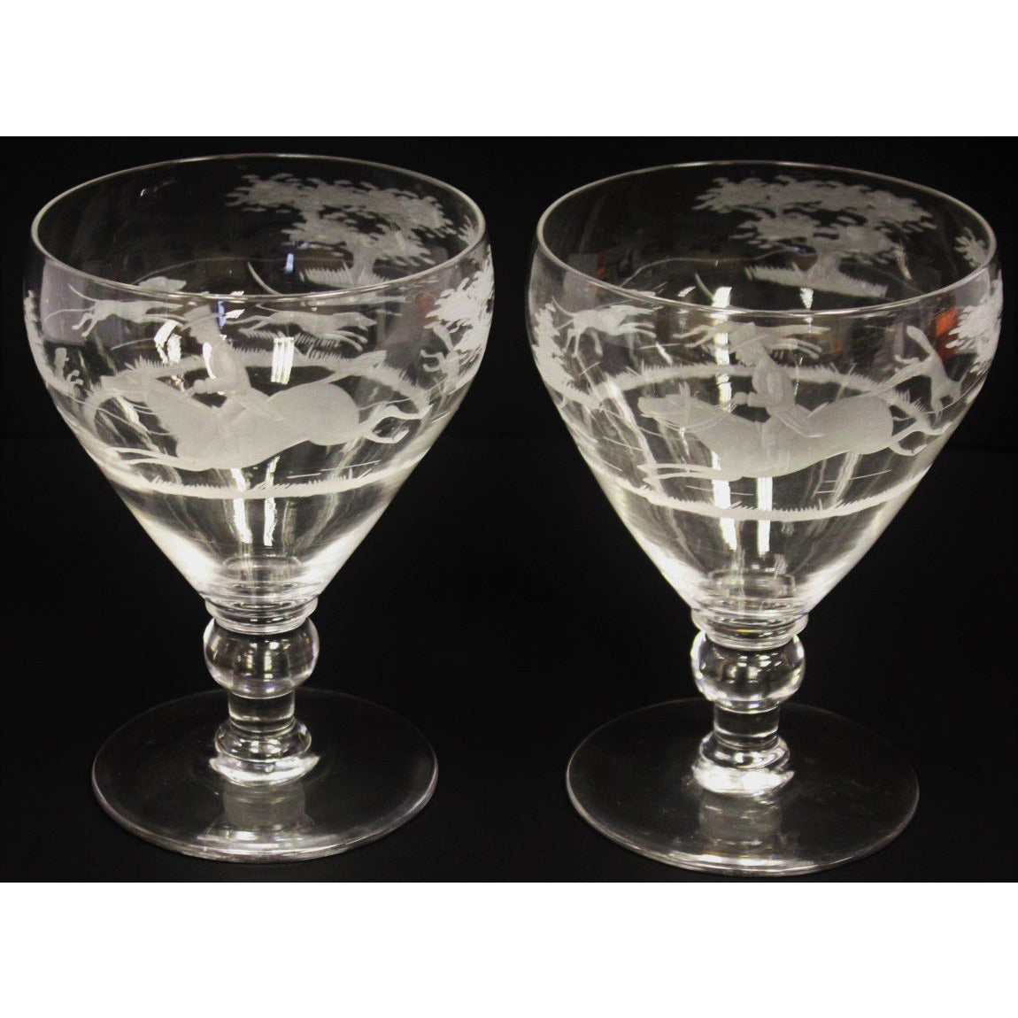 Pair of Etched 'Foxhunt' Water Goblets