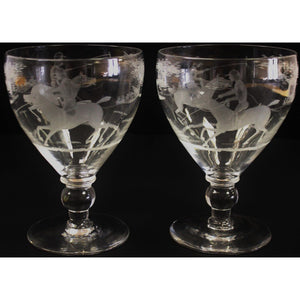 Pair of Etched 'Polo Player' Water Goblets