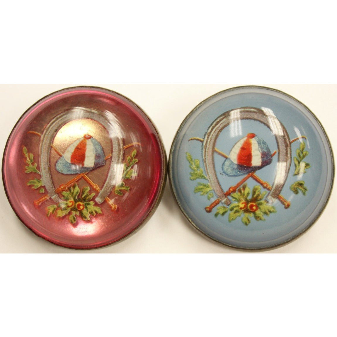 Red & Blue Jockey Cap Brass Harness Buttons
