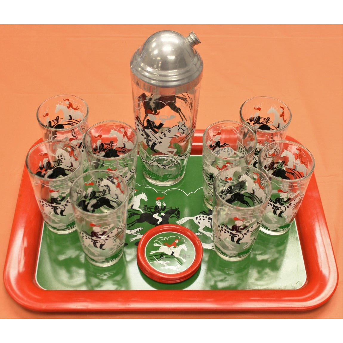 Set of 18pc Fox Hunt Cocktail Service
