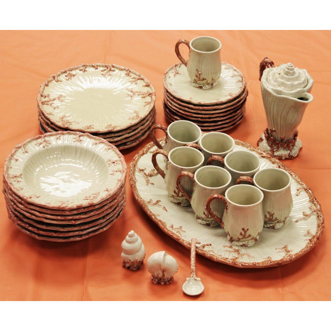 Set of Fitz & Floyd Oceana 33pc Dinner Service