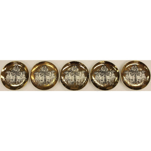 Set of 5 Fornasetti Milano Gilt Coasters w/ Horse Drawn Roman Chariots