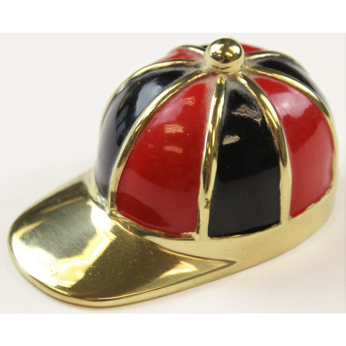 Red/Black Enamel & Brass Jockey Cap Bottle Opener