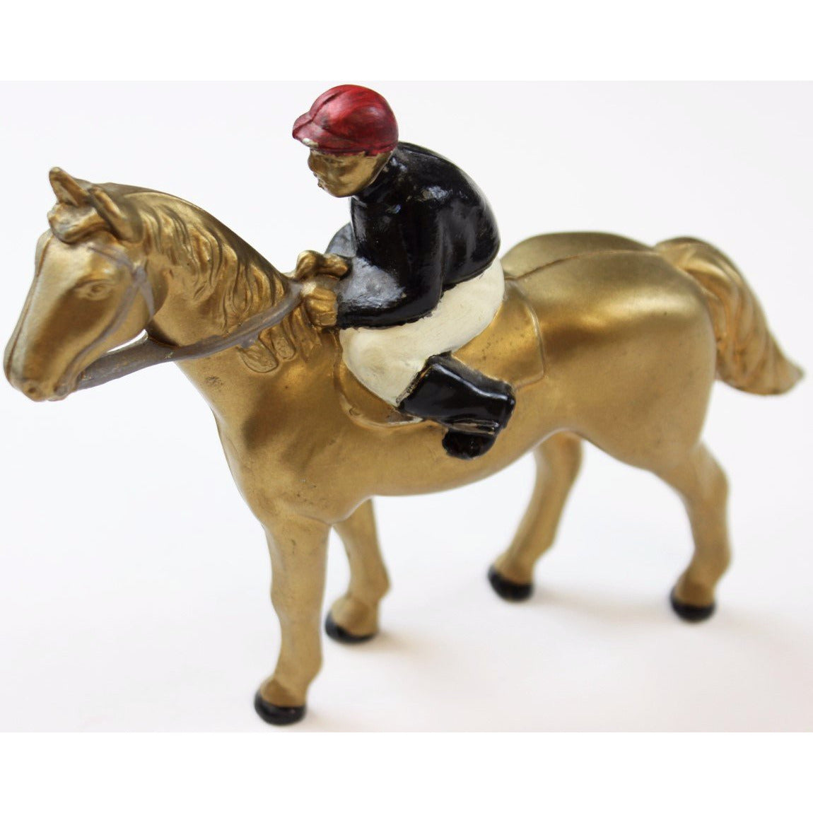 Phipps Stables (Black Silks w/ Cherry Cap) Jockey on Gilt Racehorse