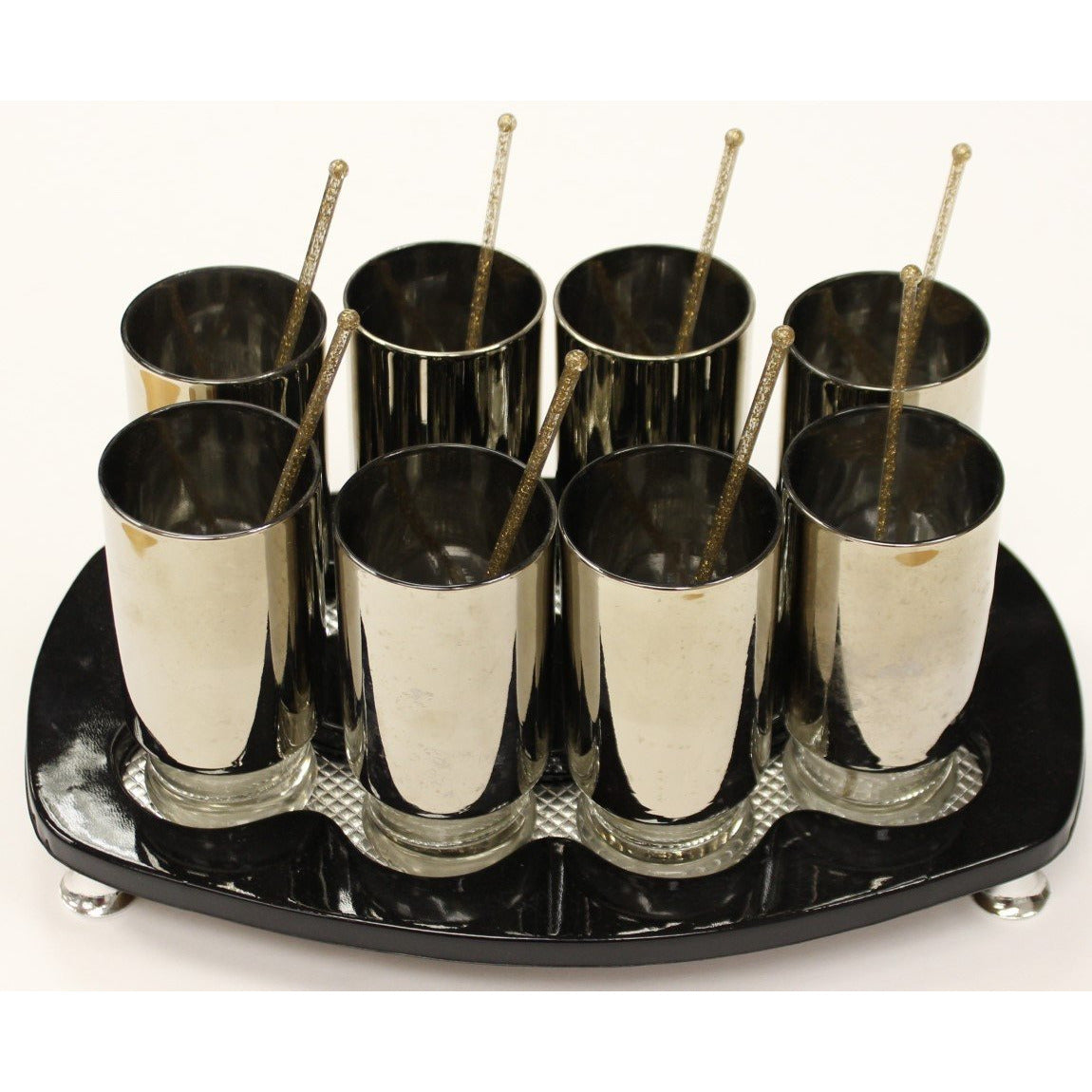 Set of 8 Cocktail Silver Glasses on Black Serving Tray
