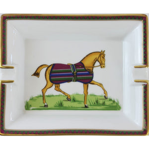 Hermes Equestrian Horse Stripe Blanket Ashtray