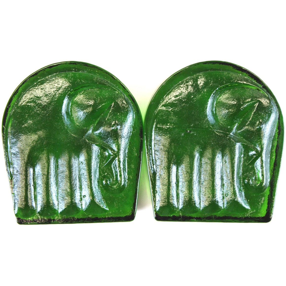 Elephant Emerald Glass Bookends