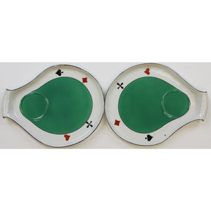 Pair of Kidney Shaped Playing Card Porcelain Dishes
