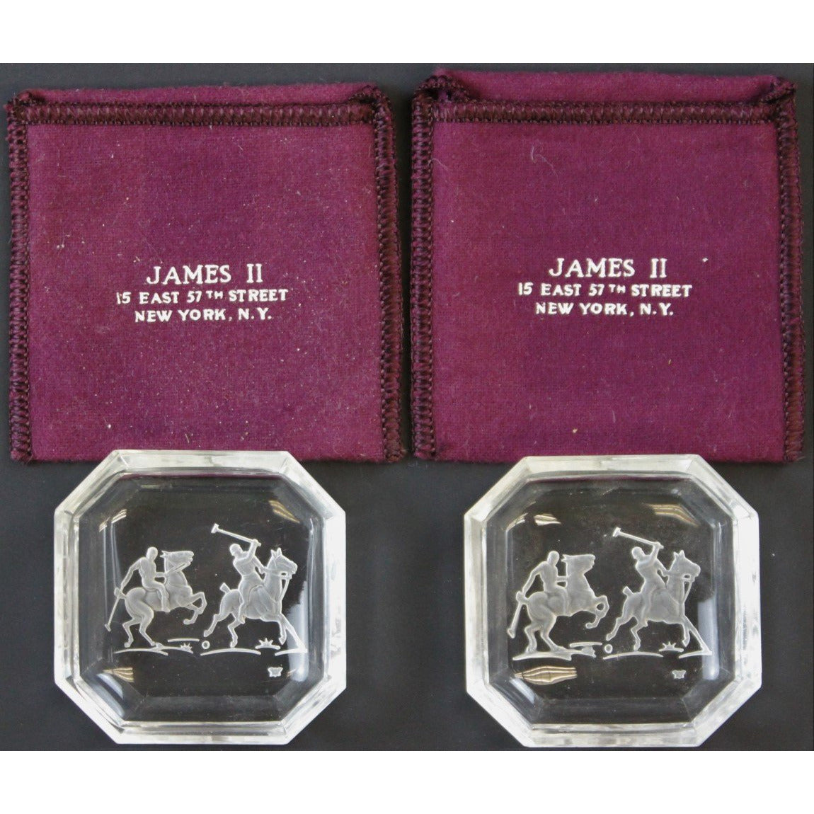 Octagonal James II Baccarat Crystal Polo Player Ashtrays