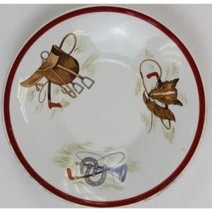 Pair of English FoxHead Hunting Scenes' Saucers