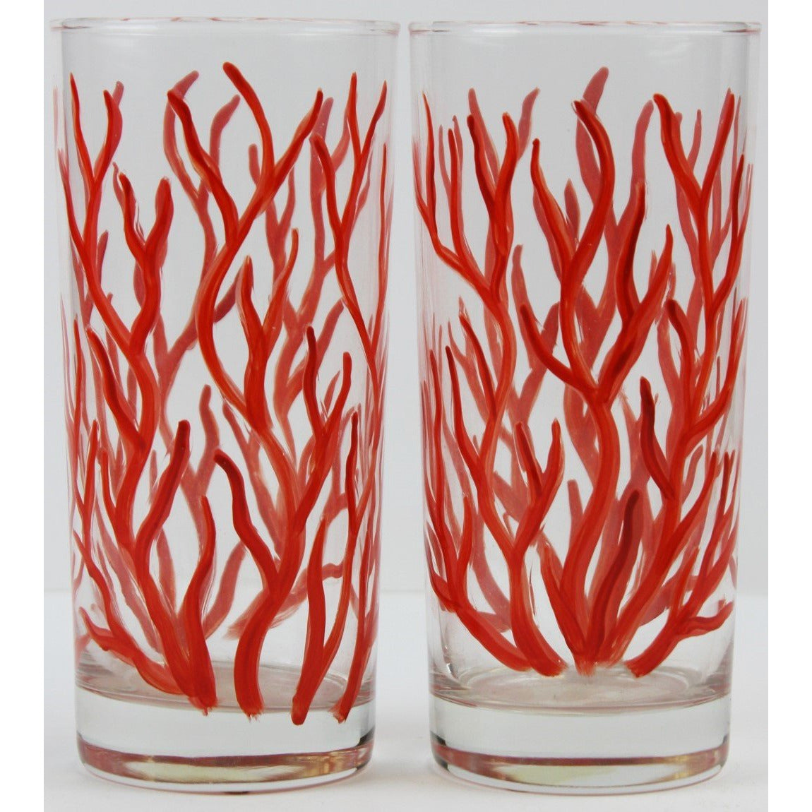 Pair of Hand-Painted Coral Highball Glasses