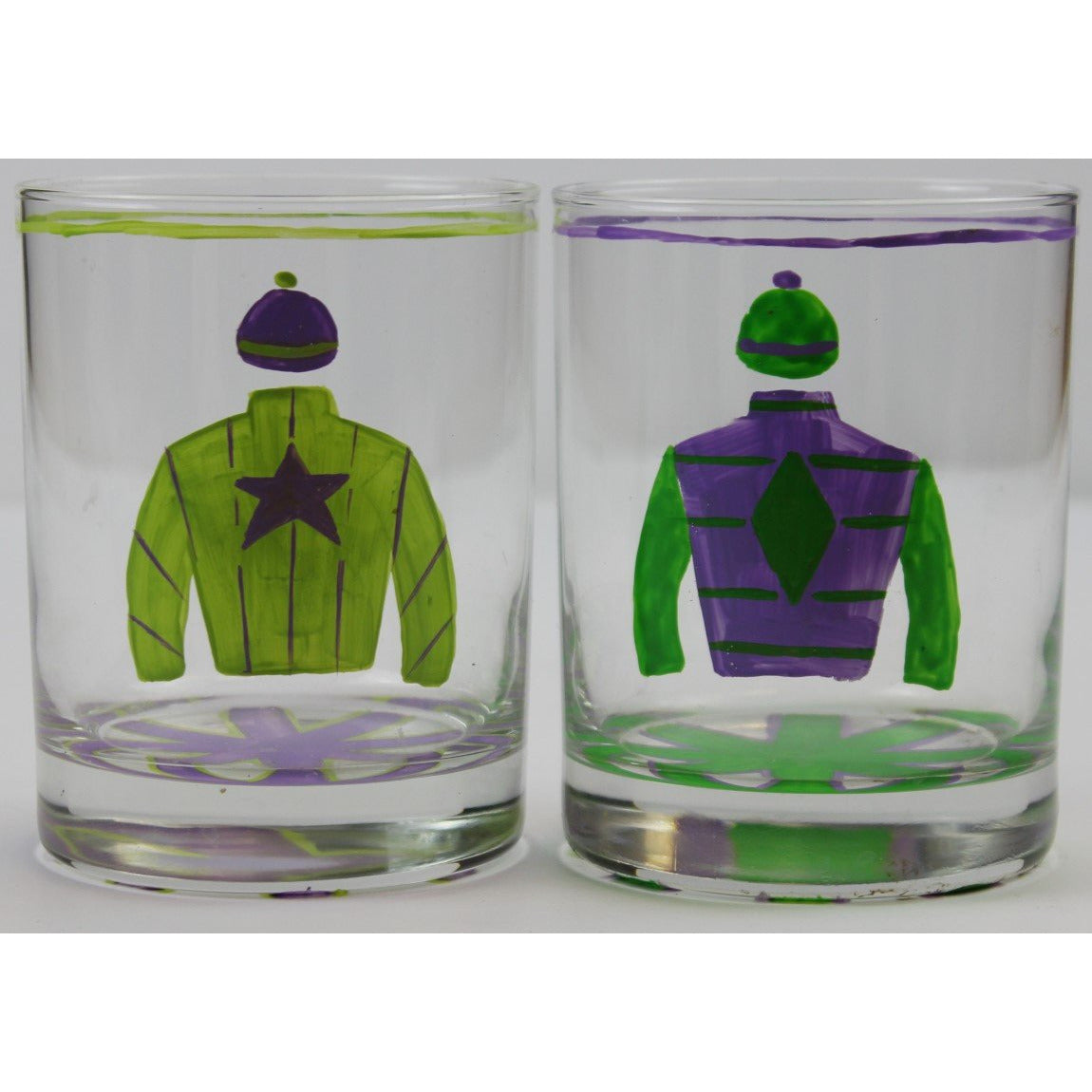 Pair of Hand-Painted Jockey Silks Old-Fashioned Bar Glasses