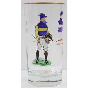 Set of 6 Hand-Painted Jockey Highball Glasses