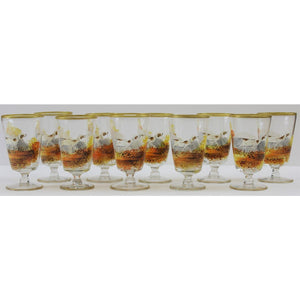 Set of 10 Hand-Painted Sporting Dog Sherry Glasses