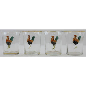 Set of 4 Rooster Shot Glasses