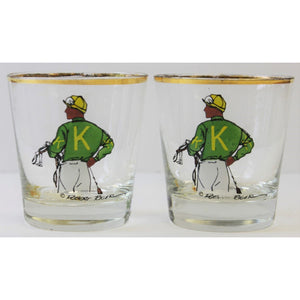 Pair of Jockey 'K Silks' Old-Fashion Bar Glasses