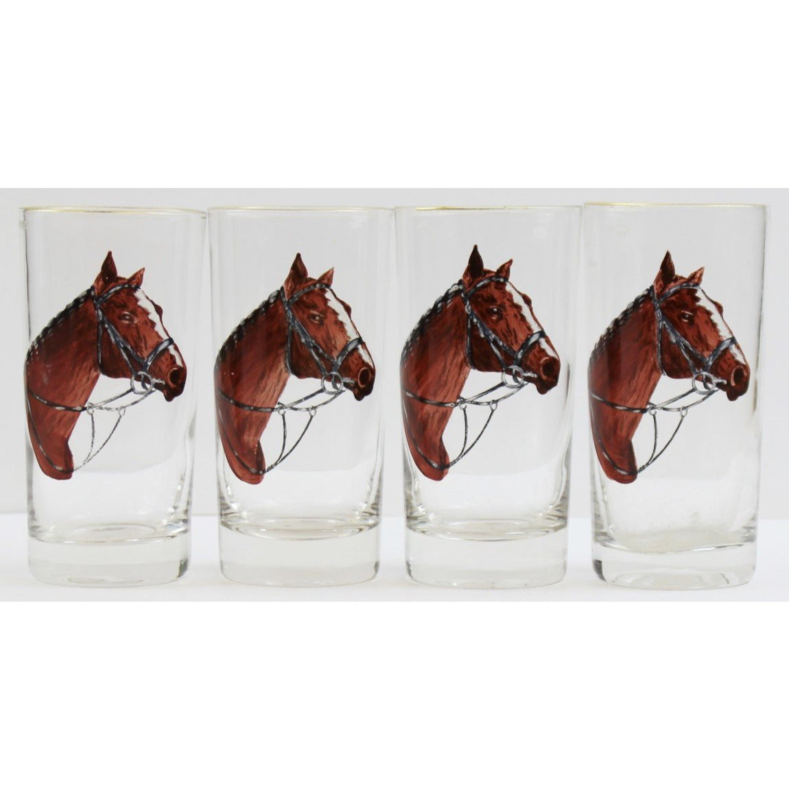 Set of 4 Horsehead Highball Glasses