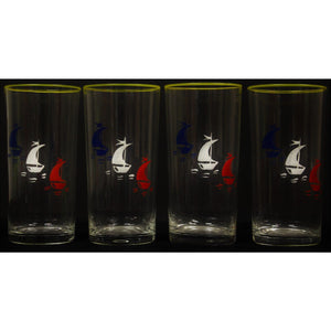 Set of 4 Sailboat Highball Glasses