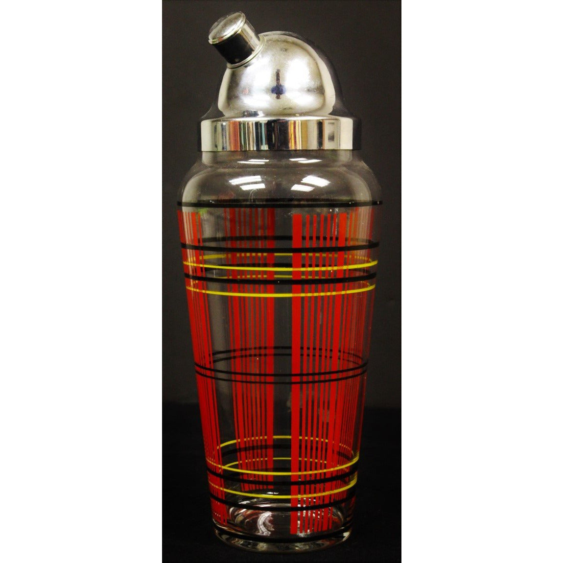 Tartan Stripe Glass Cocktail Shaker w/ Chrome Lid