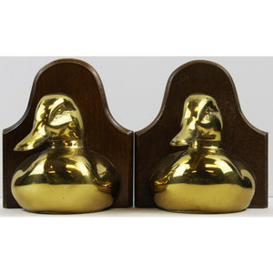Pair of Brass Mallard Duck Head Bookends