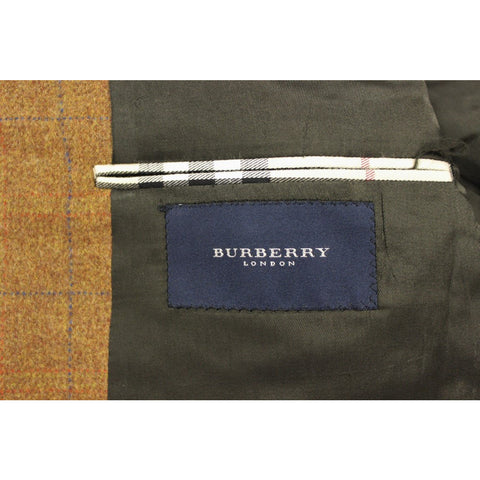 Burberry for Saks 5th Ave. 3 Button Windowpane Heather Tweed Blazer