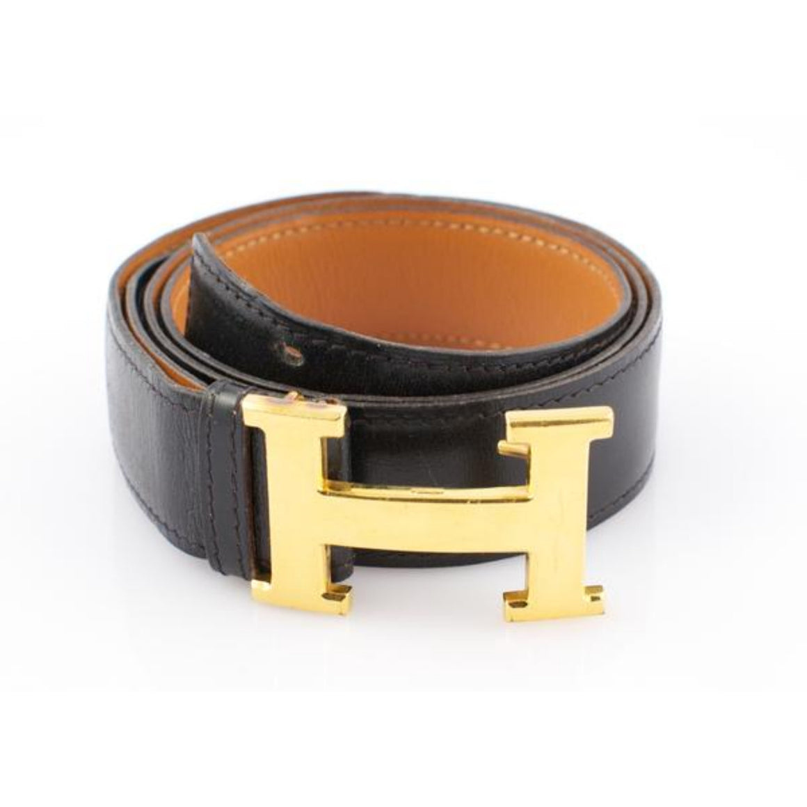 'Hermes of Paris 'H' Brass Buckle Belt'