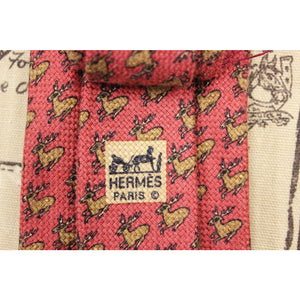 Hermes of Paris Twill Silk Stag Print Tie