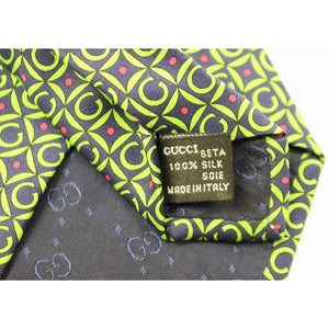 "Gucci Green on Navy ""G"" Block Print Tie"