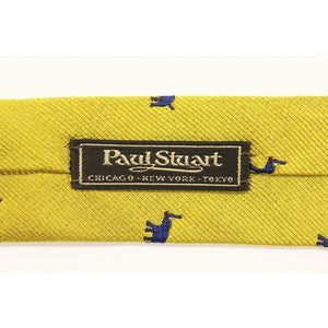 Paul Stuart Navy Elephant on Yellow Twill Tie