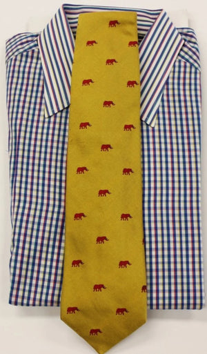 Paul Stuart Red Elephants on Yellow Twill Tie