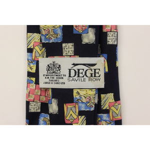 Dege Savile Row Jockey Silks Abstract Print on Navy Tie