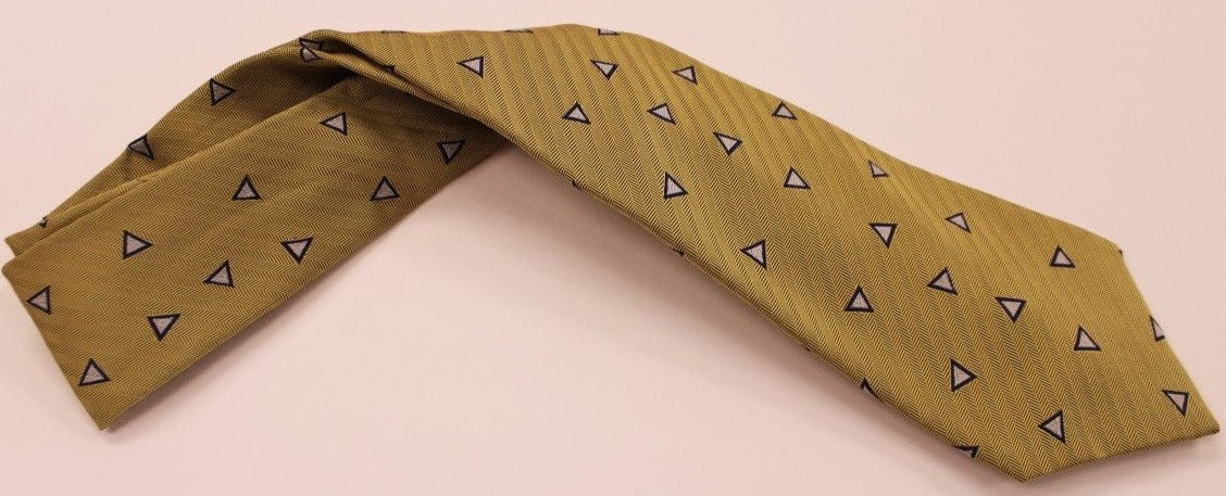 Turnbull & Asser Blue & Silver Triangle Print on Gold HB Twill Tie
