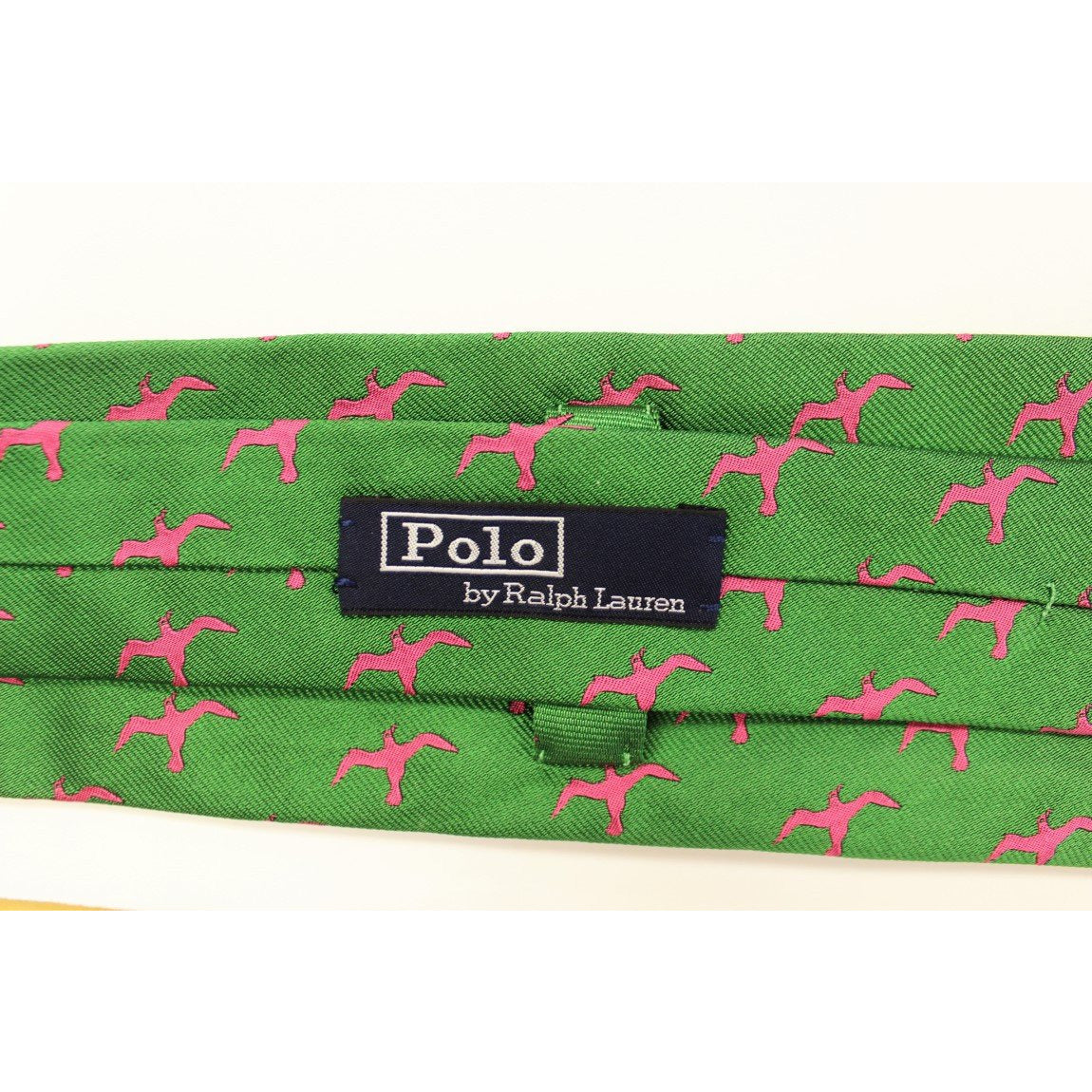 Polo RL Pink 'Seagull' Print on Kelly Green Twill Tie